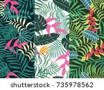 set of three seamless floral... | Shutterstock .eps vector #735978562