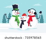 happy snowman family. flat...   Shutterstock .eps vector #735978565