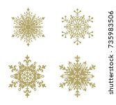 set of 4 decorative  snowflakes.... | Shutterstock .eps vector #735983506