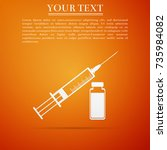 medical syringe with needle and ... | Shutterstock .eps vector #735984082