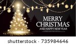 christmas tree. elegant card...   Shutterstock .eps vector #735984646