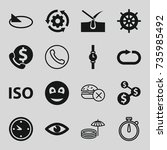 circle icons set. set of 16... | Shutterstock .eps vector #735985492