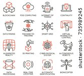 vector set of 16 linear icons... | Shutterstock .eps vector #735989245