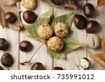 high angle shot of a roasted... | Shutterstock . vector #735991012