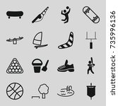 recreation icons set. set of 16 ... | Shutterstock .eps vector #735996136