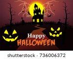 happy halloween   Shutterstock .eps vector #736006372