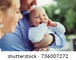 happy cute baby boy smiling and ... | Shutterstock . vector #736007272