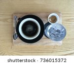 top view  set of coffee on... | Shutterstock . vector #736015372