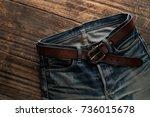 denim jeans texture or denim... | Shutterstock . vector #736015678