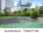 entrance and exit for parking... | Shutterstock . vector #736017736