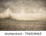 dirt fly after motocross... | Shutterstock . vector #736018465