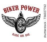 biker power. wheel with wings.... | Shutterstock .eps vector #736027762