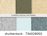 collection of striped seamless... | Shutterstock .eps vector #736028002