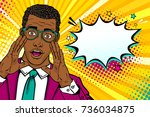 wow male face. young surprised... | Shutterstock .eps vector #736034875