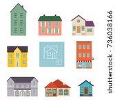set flat house icons. family... | Shutterstock .eps vector #736038166