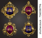 set of golden royal shields... | Shutterstock .eps vector #736038796
