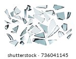 broken glass on white... | Shutterstock . vector #736041145