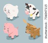 isometric 3d cute baby animals... | Shutterstock .eps vector #736047115