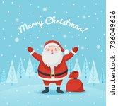 joyful santa claus with a bag... | Shutterstock .eps vector #736049626
