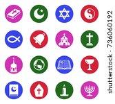 religion icons. white flat... | Shutterstock .eps vector #736060192