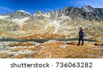 lonely hiker woman in autumn... | Shutterstock . vector #736063282