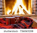 red  cups  for  hot tea and... | Shutterstock . vector #736065208