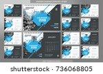desk calendar 2018 template  ... | Shutterstock .eps vector #736068805