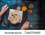 female hands holding tray with... | Shutterstock . vector #736070485