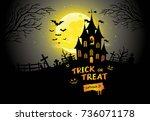 halloween poster  night... | Shutterstock . vector #736071178