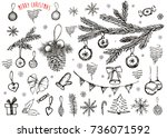merry christmas hand drawn | Shutterstock . vector #736071592