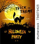 halloween night background... | Shutterstock . vector #736073425