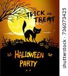 halloween night background... | Shutterstock . vector #736073425