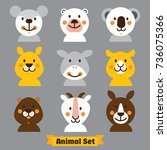 face the animals. vector animal ... | Shutterstock .eps vector #736075366