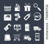 shopping icons vector set... | Shutterstock .eps vector #736082926