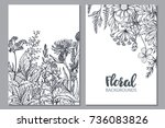 floral backgrounds with hand... | Shutterstock .eps vector #736083826