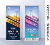 vertical roll up banner... | Shutterstock .eps vector #736086655