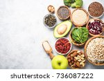 superfoods on a gray background ... | Shutterstock . vector #736087222