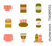 set pixel icons of fast food | Shutterstock .eps vector #736089052