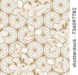 japanese pattern vector. gold... | Shutterstock .eps vector #736097782