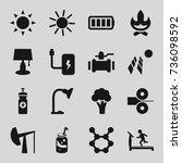 energy icons set. set of 16... | Shutterstock .eps vector #736098592