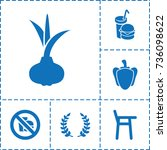 eating icon. set of 6 eating... | Shutterstock .eps vector #736098622