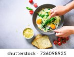 girl hands above frying pan... | Shutterstock . vector #736098925