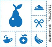 food icon. set of 6 food filled ... | Shutterstock .eps vector #736100812