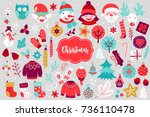 christmas design elements with... | Shutterstock .eps vector #736110478