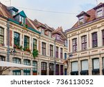 antique building view in old... | Shutterstock . vector #736113052