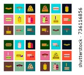 set pixel icons of fast food | Shutterstock .eps vector #736116856