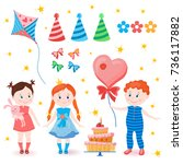 celebratory set. birthday party.... | Shutterstock .eps vector #736117882