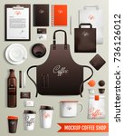 mockup coffee shop design... | Shutterstock .eps vector #736126012