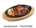 Isolated Garlic Saikoro Steak ...