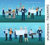 factory workers team horizontal ... | Shutterstock .eps vector #736144492